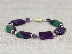 Браслет из агата зеленого с фиолетовым от Nur