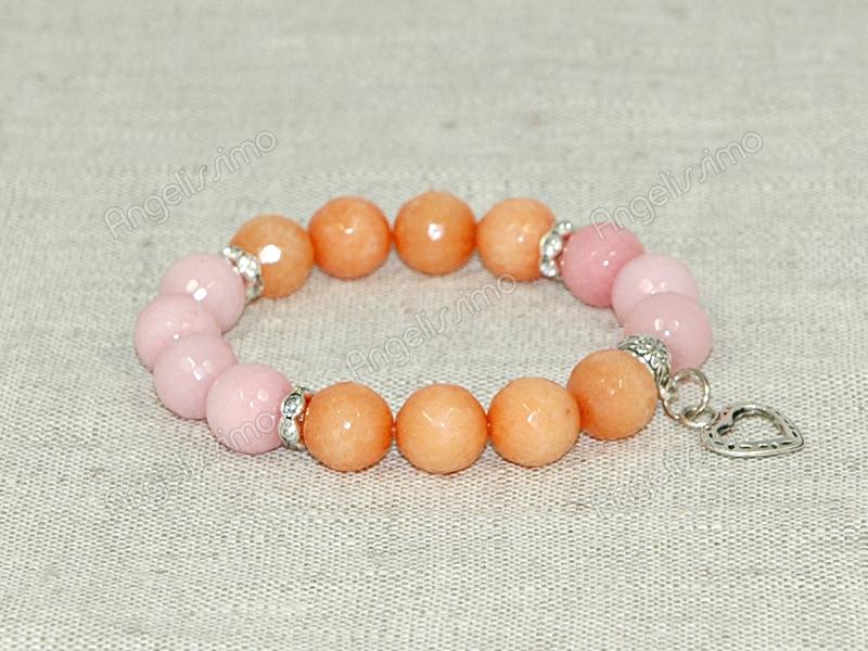 Браслет из розового и оранжевого кварца