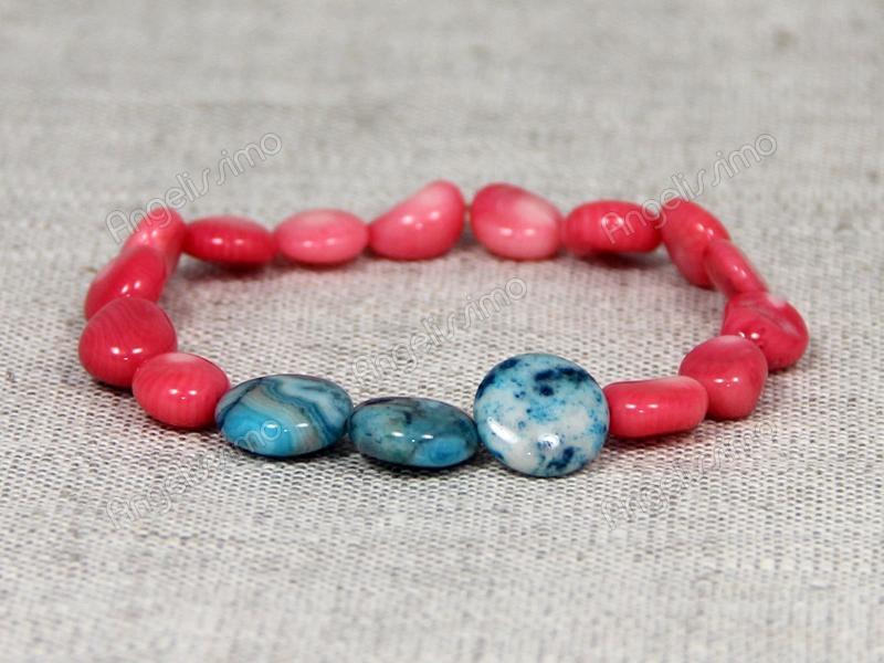 Браслет из розового коралла и голубого агата от Nur