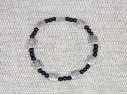 Браслет мужской/женский из шунгита с вставками серебряного цвета от Nur