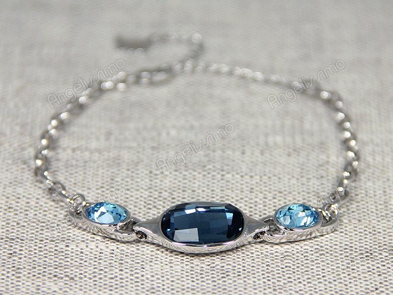Браслет с голубыми кристаллами Swarovski